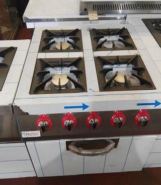 Cocina industrial 4 fuegos con horno