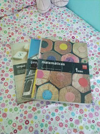 libros lengua, matemáticas y geografía SM 1 ESO