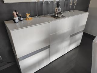buffet - aparador blanco lacado con led de colores