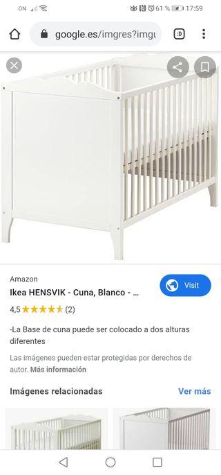 CUNA BLANKA IKEA + COLCHÓN Y EDREDÓN