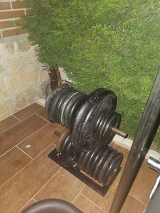 Discos de pesas de caucho o hierro fundido