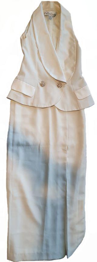 Traje de mujer de chaqueta y falda larga