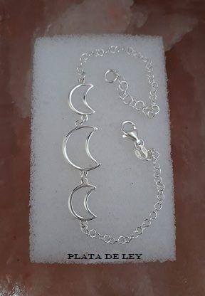Pulsera plata de ley, lunas