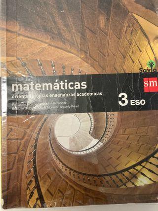 Libro de matemáticas de 3 ESO editorial SM