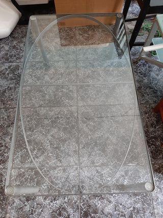 Mesa de centro baja de cristal