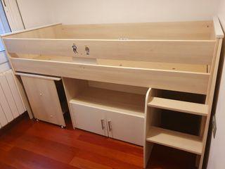Conjunto de cama nido con escritorio + armario