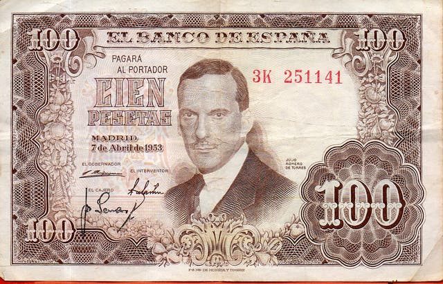 BILLETE DE ESPAÑA DE 100 PESETAS DE 1953