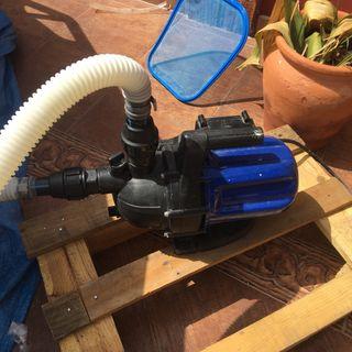 Bomba de agua, válvula selectora y filtro piscina