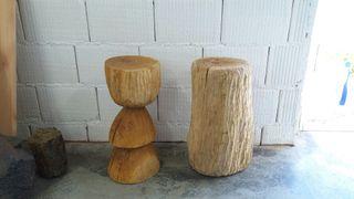 Taburetes madera maciza tallados a mano