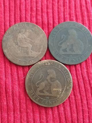 3 Monedas de 10 céntimos de 1870