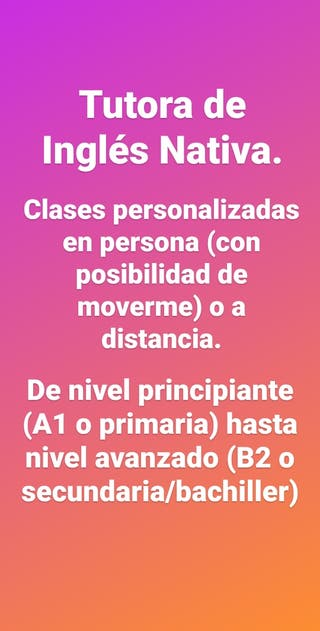 Clases de Inglés con Nativa.