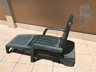 Conjunto mesa sillas y tumbona jardin terraza