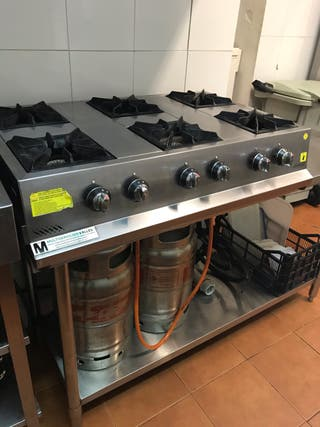 Cocina 6 fuegos sobremesa gas butano