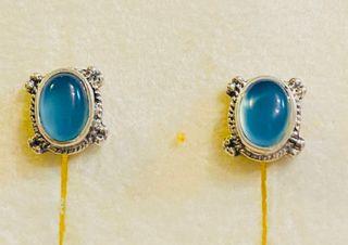 Pendientes de calcedonia azul y plata de ley 925