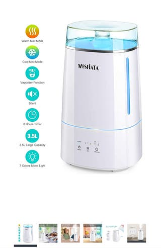3.5L Warm and Cool Mist Humidifier, Top Fill Ultra