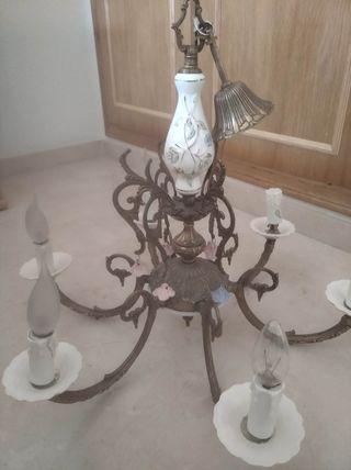Lampara de bronce y cerámica