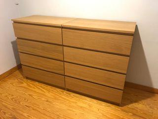 1 comoda IKEA MALM 4 cajones - color Chapa Roble