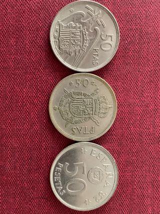 3 monedas 50 pesetas