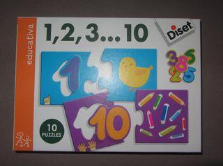 Puzzle 1, 2, 3, ..10 niños 3-4 años