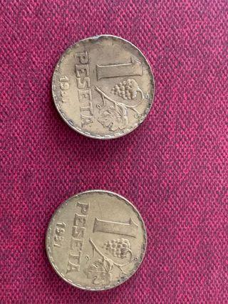 2 monedas 1 peseta 1937