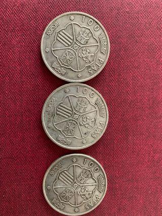 3 monedas 100 pesetas 1966