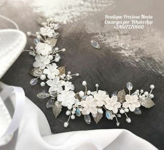 Tiara novia de flores de porcelana tocado de novia