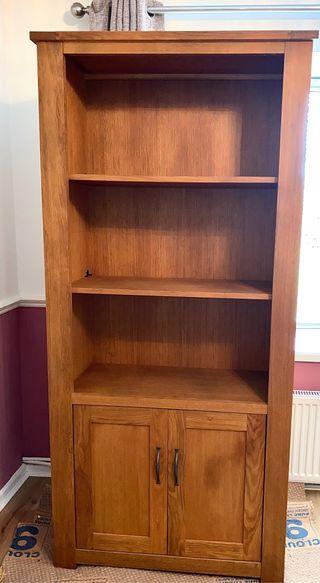 Large Wooden Oak Bookshelf With Cupboards Below
