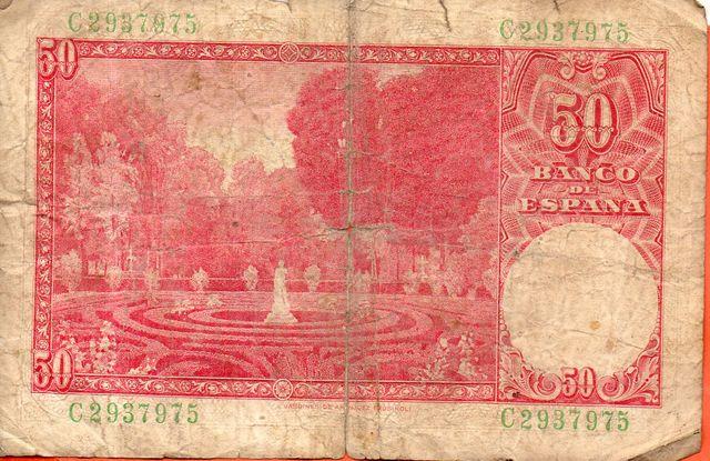 BILLETE DE ESPAÑA DE 50 PESETAS DE 1951 MAL CONSE