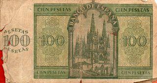 BILLETE DE ESPAÑA DE 100 PESETAS DE 1939 MAL CONSE