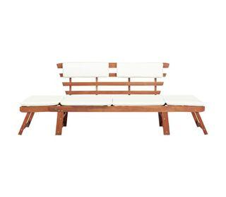Banco de jardín con cojines 2 en 1 190 cm madera