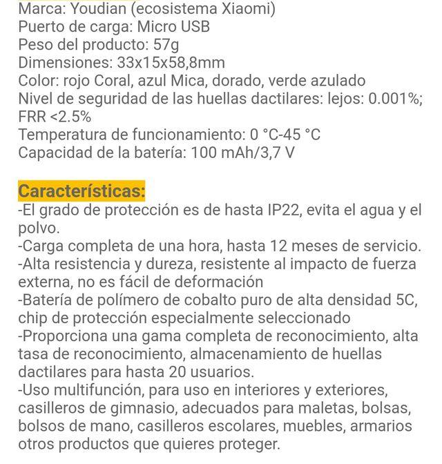 Verde candado huella digital Xiaomi usb