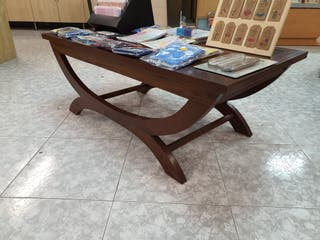 Mesa centro madera maciza y bambú Pórtico