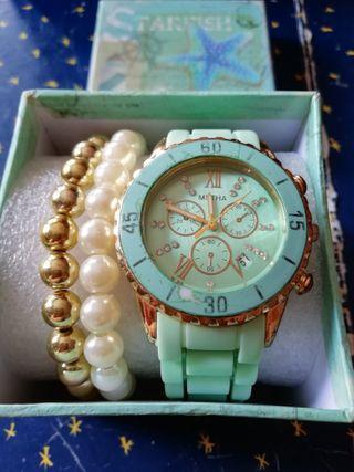 Reloj de mujer Metha + pulseras