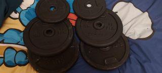 4 discos 5kg domyos + 2 discos 2kg domyos