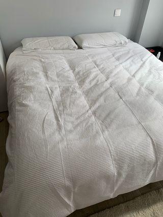 Funda nórdica blanca cama 1.80 + 2 fundas almohada