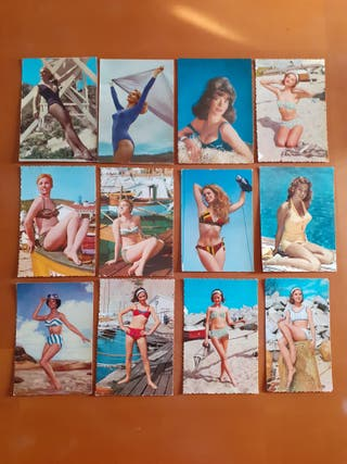 Lote 12 postales chicas años 50