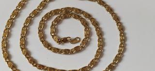 Cadena antigua chapada en oro. 52 x 0,4 cm. se pue