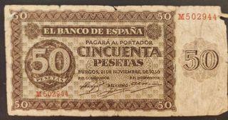 billete 50 pesetas 1936 serie M