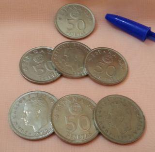 Monedas. Pesetas ESPAÑA 82 MUNDIAL. 7 Piezas.