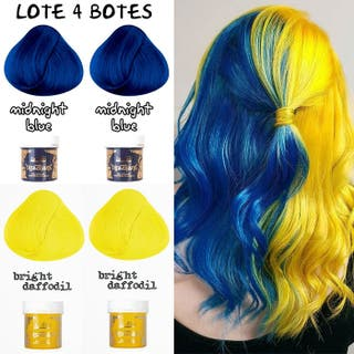 LOTE 4 Botes Tinte Cabello Pelo Azul y Amarillo