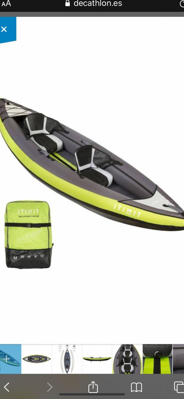 Kayak hinchable con remo y inchador