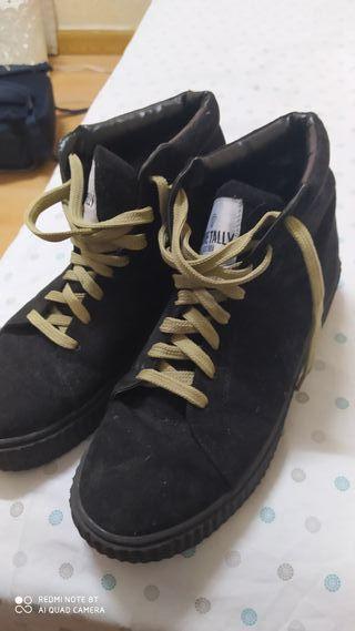 botines cuero gamuza negro