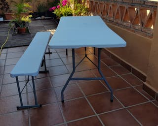 Mesa y banco jardín o terraza