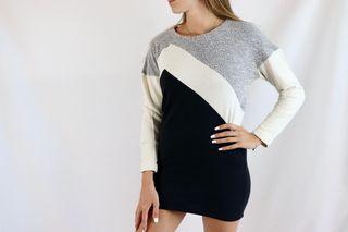 Vestido sudadera Zara Talla S gris, blanca y negra