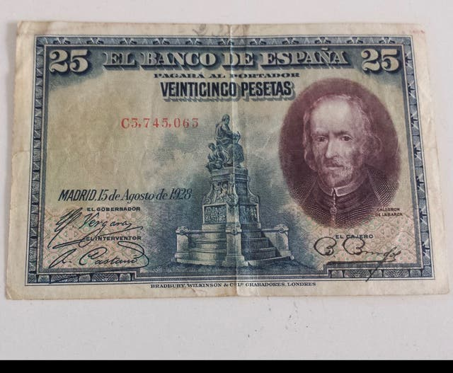Billete antiguo agosto de 1928