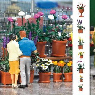 Modelismo maqueta H0 Busch 1209 maceteros flores