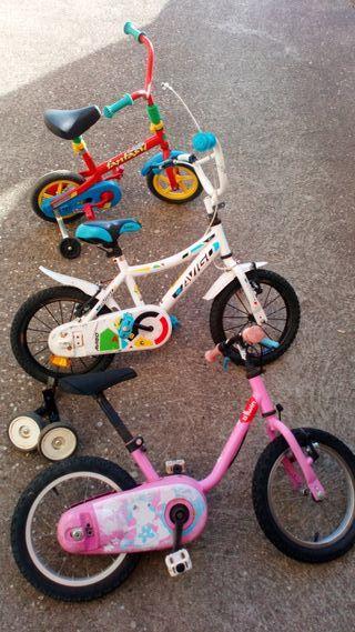 lote de tres bicis infantiles