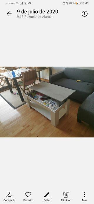 mesa Elevable gris y blanca