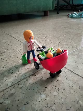 Carrito con gemelos de playmobil