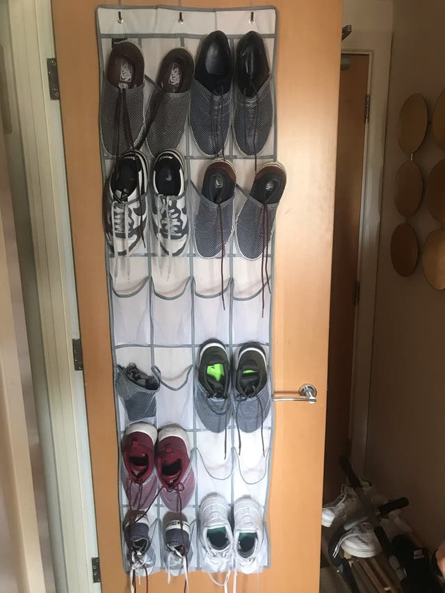 Pink iron and iron board, shoe rack and heater
